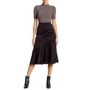 Insight Brown Vegan Suede Fit & Flare Midi Skirt 4